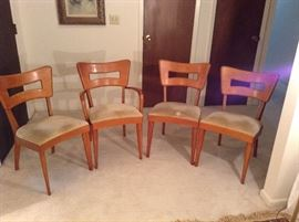 3 Dog Biscuit Side Chairs and 1 Dog Biscuit Arm Chair with Heywood Wakefield Stamp and Champagne Stamp