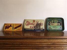 Beer signs and tray: Tivoli Pilsner, Ekhardt & Becker, and Centlivre Brewing Company
