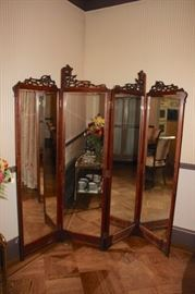 Antique Wood/Mirror Screen