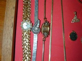 Antique Gold Watches - white gold with pearl, pink gold with ruby & diamonds.