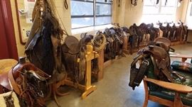 Vintage cavalry saddles and tack