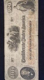 Civil War 100 Dollar Confederate States America