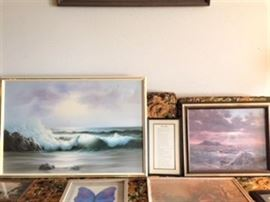 Many paintings and prints