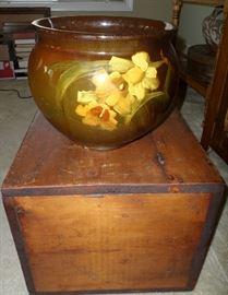 Antique wood trunk & a Louwelsa Pottery Jardiniere