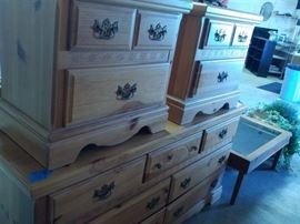 NIGHTSTANDS AND DRESSER AND MIRROR