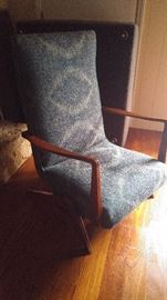 1950's Danish Rocking Chair, Teak arm's and base, fabric is in excellent condition.