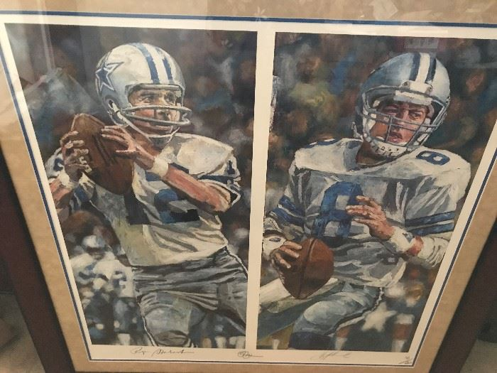 Rare Opie Otterstad Dallas Cowboys Art 1 of only 20 Signed By the artist and players- Google this artist