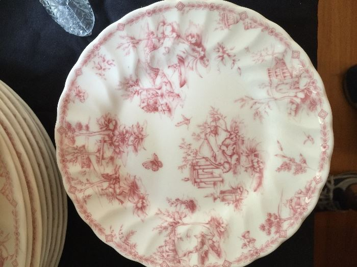 """QUEEN'S CHINA """"Chelsea Toile"""". Two set with 8 place settings each plus serving pieces."""