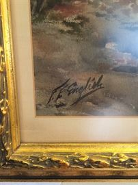 """Frank F. English original Watercolor on Paper. 29 1/2"""" X 19"""". Signed at Lower Left. Condition: EXCELLENT."""