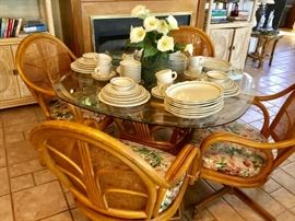 Glass Top Table with Rattan Base & Chairs