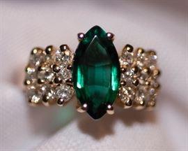 14k Emerald and Diamonds
