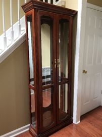 Lit Cherry Curio Cabinet w/ Mirrored Back