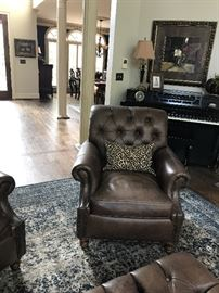 Pair Tufted Leather Chairs