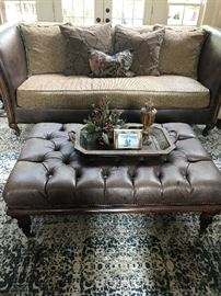 Custom High End Fabric and Leather Sofa with Tufted Leather Ottoman
