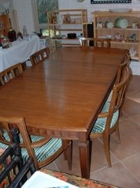 mid century dining table (shown with 1 leaf) - there is another leaf and 10 chairs total (4 arm)