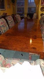 LONGGGG Burled Rosewood Dining Table Custom Made Directional Milo Baughman 10' 4""