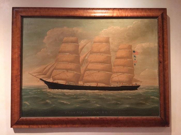 Clipper Ship Signed Seth Taylor, 1895