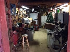 A view of the shed before we started working on it. I'm a little overwhelmed by all the tools!