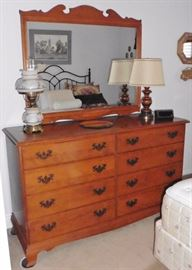 Heywood Wakefield Maple dresser, mirror