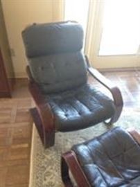 Mid-Century Eames style chair and ottoman