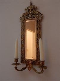 VICTORIAN MIRRORED WALL SCONCE - 1 OF 2