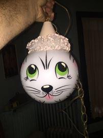 Mid century modern cat face round milk glass globe light