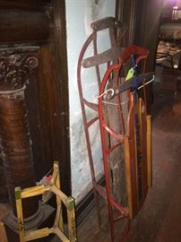 Five different antiques sleds