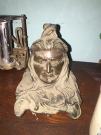 Art nouveau Indian chief head ink well with the Glass insert