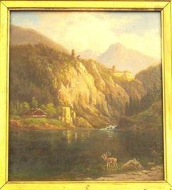 Oil on board small mountainous landscape, German