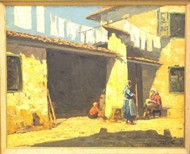 Oil on canvas by R. Tosti, Italian