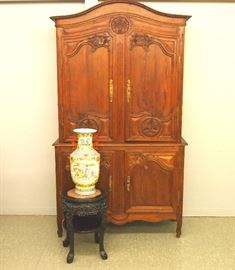 "French Pine ""Buffet du Coups"", Chinese stand and vase"
