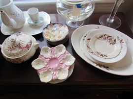 Stack of Imari plates, ironstone, oyster plates, lidded service pieces