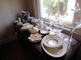 English china, vintage oyster plates, huge apothecary jars with lids, covered service dishes, vintage decorator plates, etc