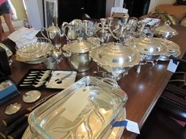 Many silverplate pieces for service