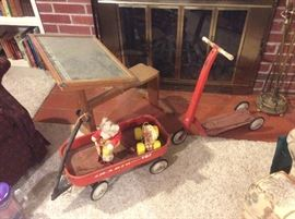 Child's wagon , scooter, toys