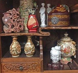 Asian Items (Satsuma, Sumida, Soapstone, Blanc-de-Chine Porcelain) in a Japanese Tansu Cabinet