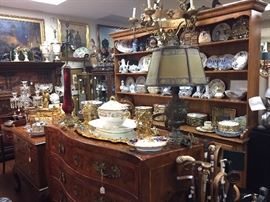 18th century Italian Bombé Commode, Vintage French Vaisellier, numerous Plates and Dishes.