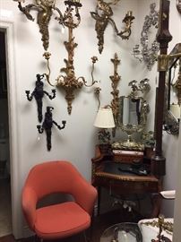 Sconces, French Ladies Desk, Knoll Chair (5 available).