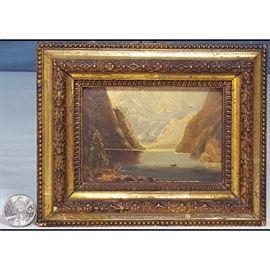 Art Miniature 1800s Oil On Board Mountain Laake Landscape