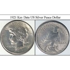 Coins 1921 Key Date US Silver Peace Dollar