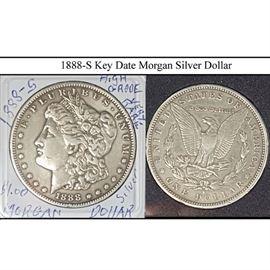 Coins 1888 S Key Date Morgan Silver Dollar