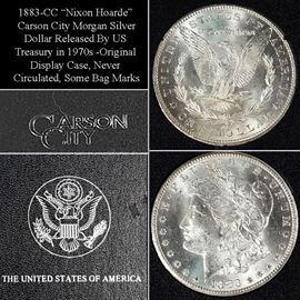 Coins Carson City 1883CC Never Circulated Morgan Silver Dollar In Presentation Case