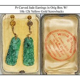 Jewelry Gold 10k 12k Yellow Screw Back Carved Jade Earrings In Orig Vintage Box