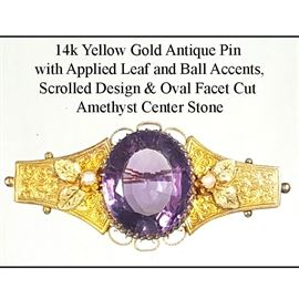 Jewelry Gold 14k Yellow Antique Pin Oval Facet Cut Amethyst Center