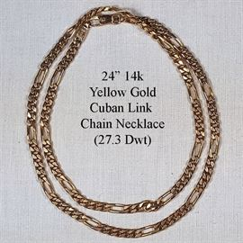 Jewelry Gold 14k Yellow 24 Inch Cuban Link Chain Necklace
