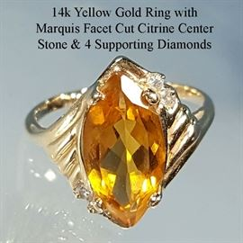 Jewelry Gold 14k Yellow Marquis Facet Cut Citrine Diamond Supports