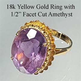 Jewelry Gold 18k Yellow Ring Half Inch Facet Cut Oval Amethyst