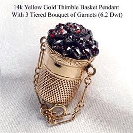 Jewelry Gold 14k Yellow Thimble Basket Pendant With Garnet Bouquet