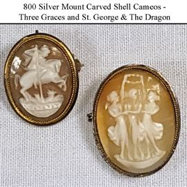 Jewelry Silver 800 Carved Shell Cameos