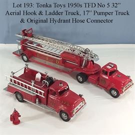Toys Fire Tonka TFDHook  Ladder Truck Pumper Truck  Hydrant Hose Connector